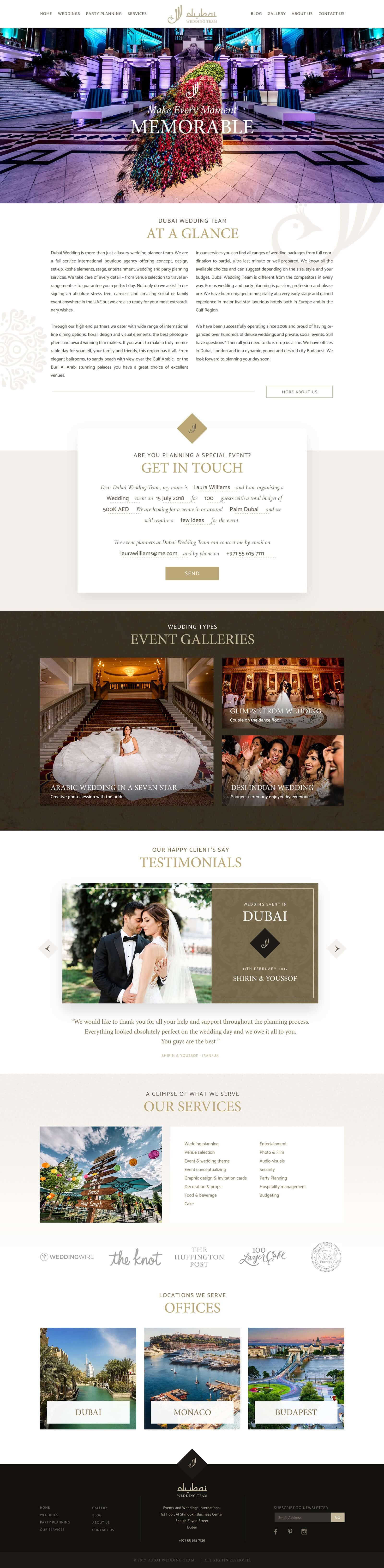 Website Design for Wedding Event Planners in Dubai