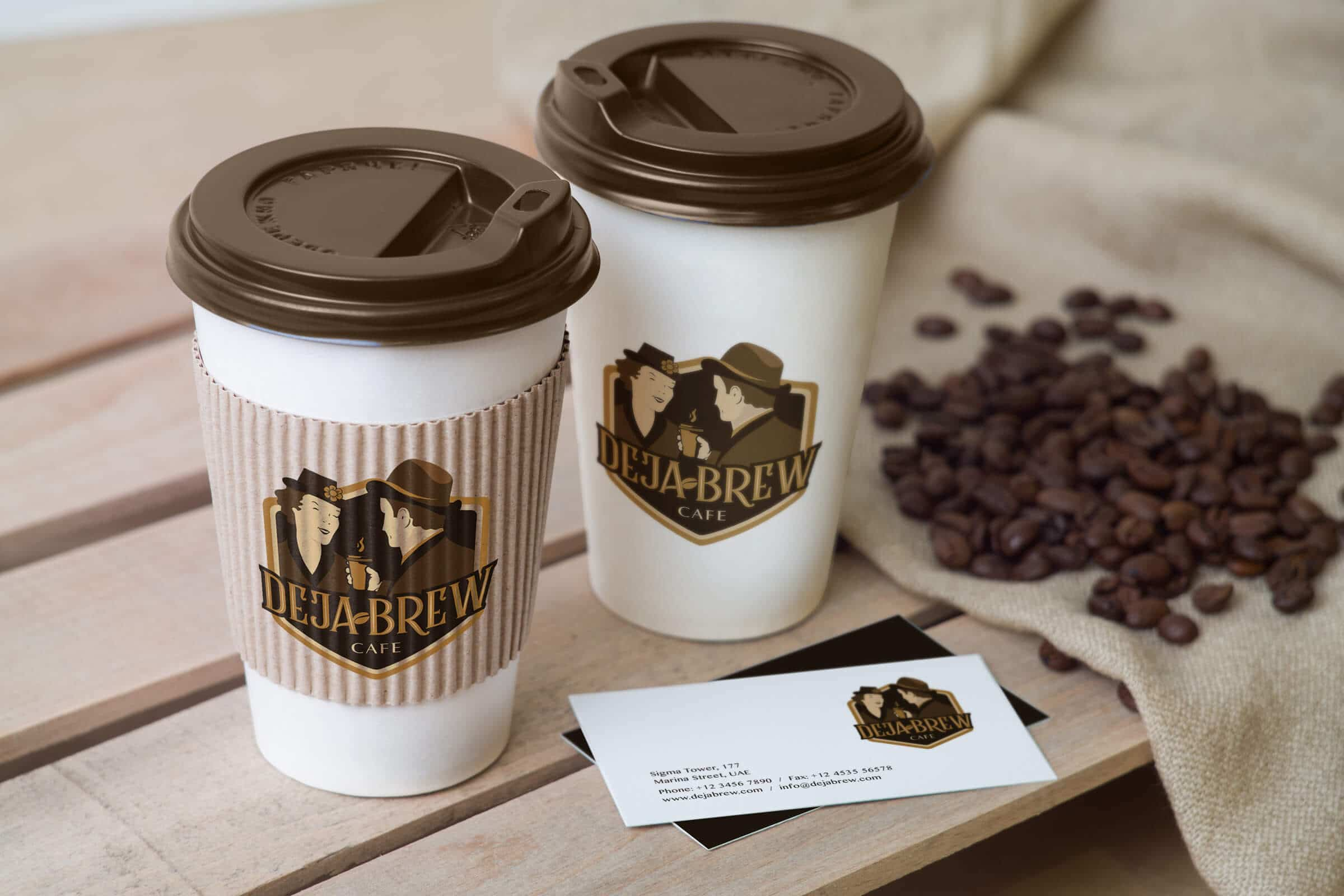 Coffee Cup Branding and Design - Deja Brew